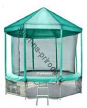 Батут OPTIFIT 10FT Like Green с сеткой, лестницей и крышей