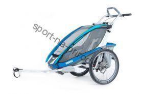 Коляска Thule Chariot CX1/Си Икс1, в комплекте с велосцепкой, синий, 14-