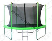 Батут JUNHOP 8'. Комплект с защитной сетью и лестницей. Зеленый.