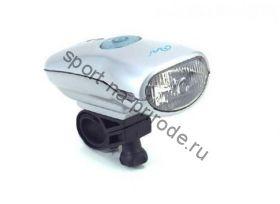 Передний фонарь WH-01NK Krypton лампа, индикатор зарядки, с крепежем, цв.серебряный