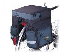 Сумка на багажник велосипеда, увеличенная, с семью отделениями, светоотражающей полосой.