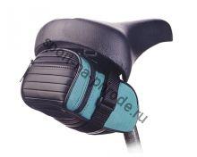Подседельная сумочка с одним небольшим карманом. Легкая застежка. Цвет синий