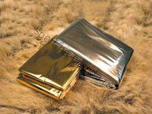 Теплосберегающее экстренное покрывало. Золото и серебро.